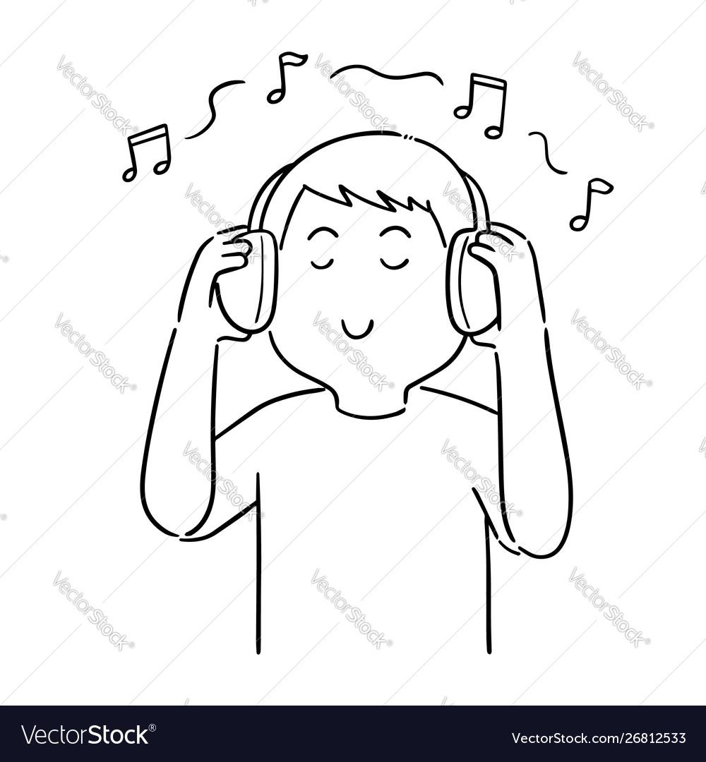 Рисунок мальчик слушает музыку