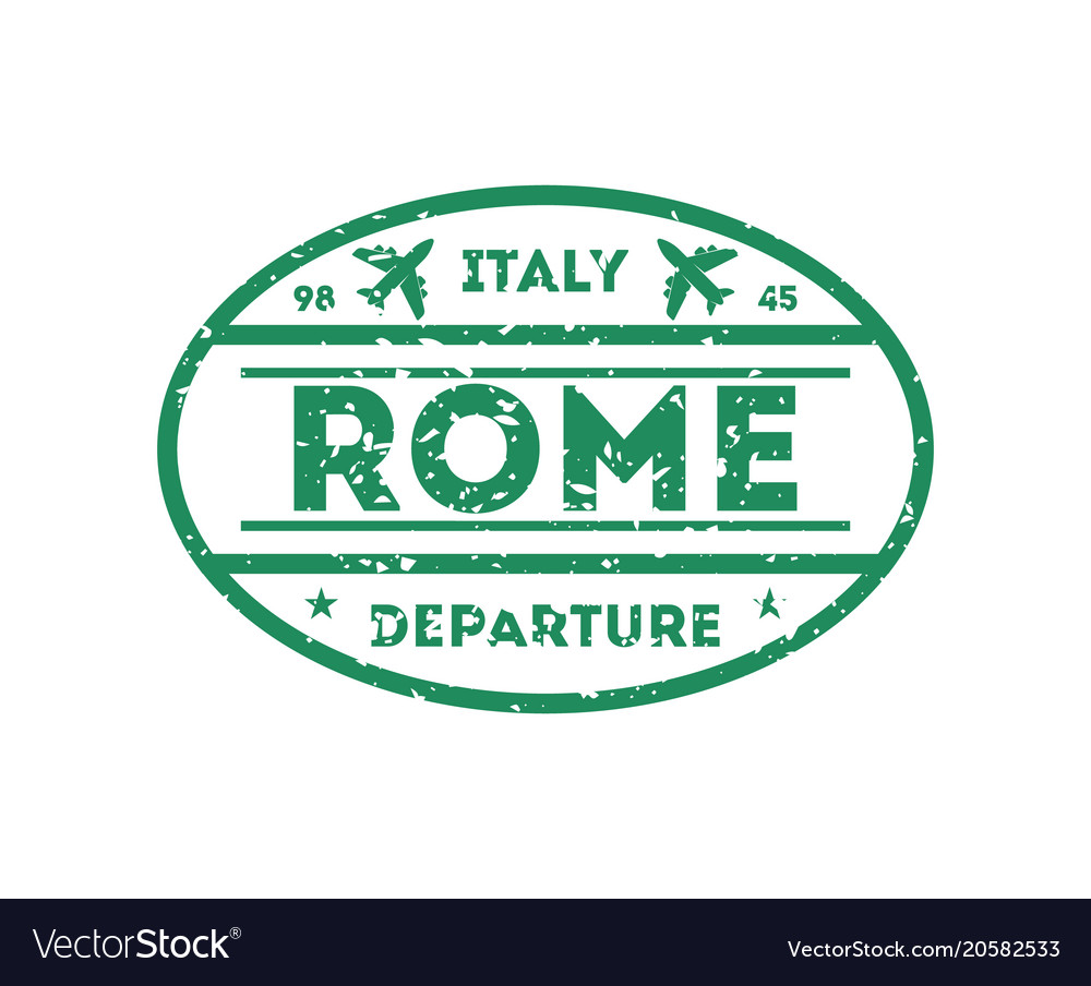 Rome city visa stamp on passport