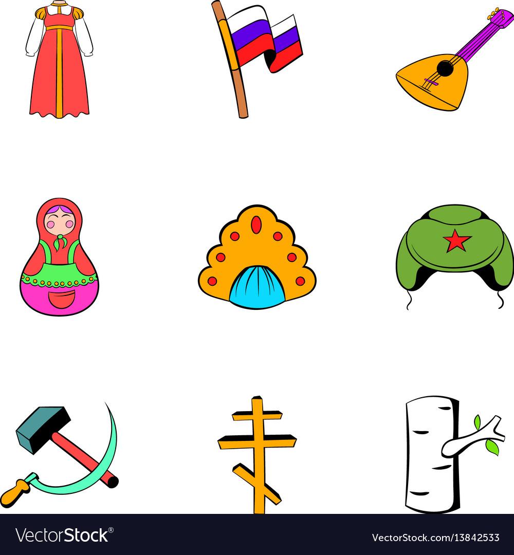 Russian symbol icons set cartoon style