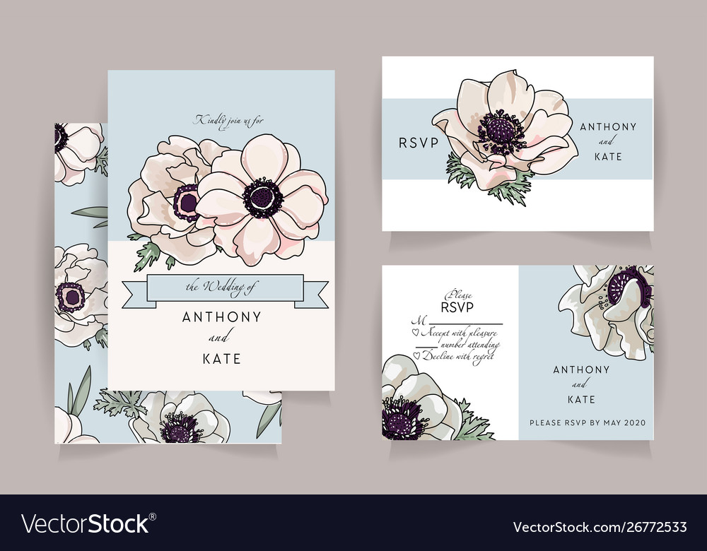 Set wedding invitation card suite with anemone