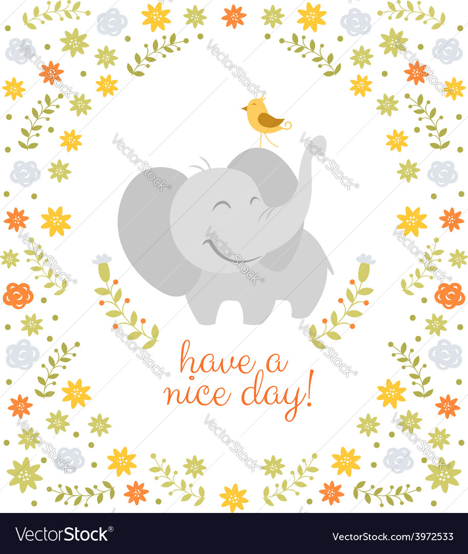 Smiling elephant on floral background