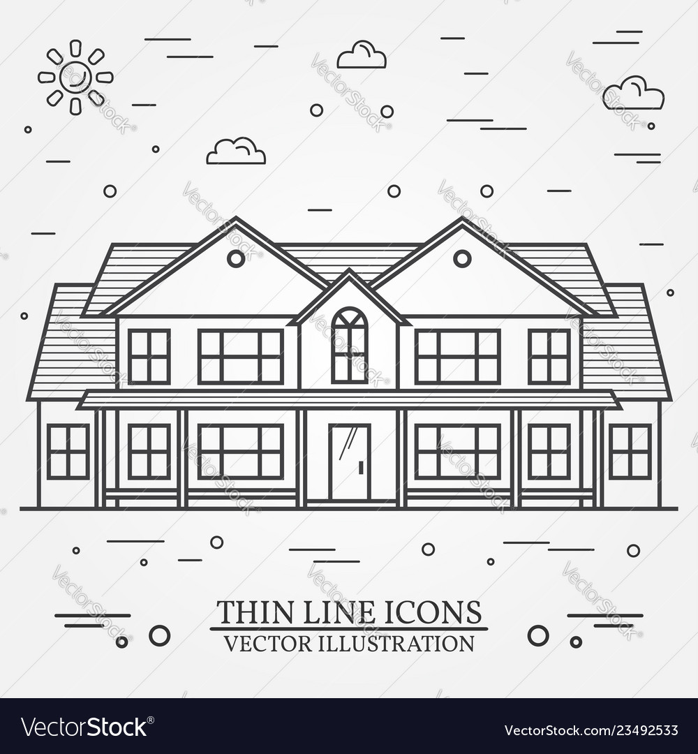 Thin line icon suburban american house for