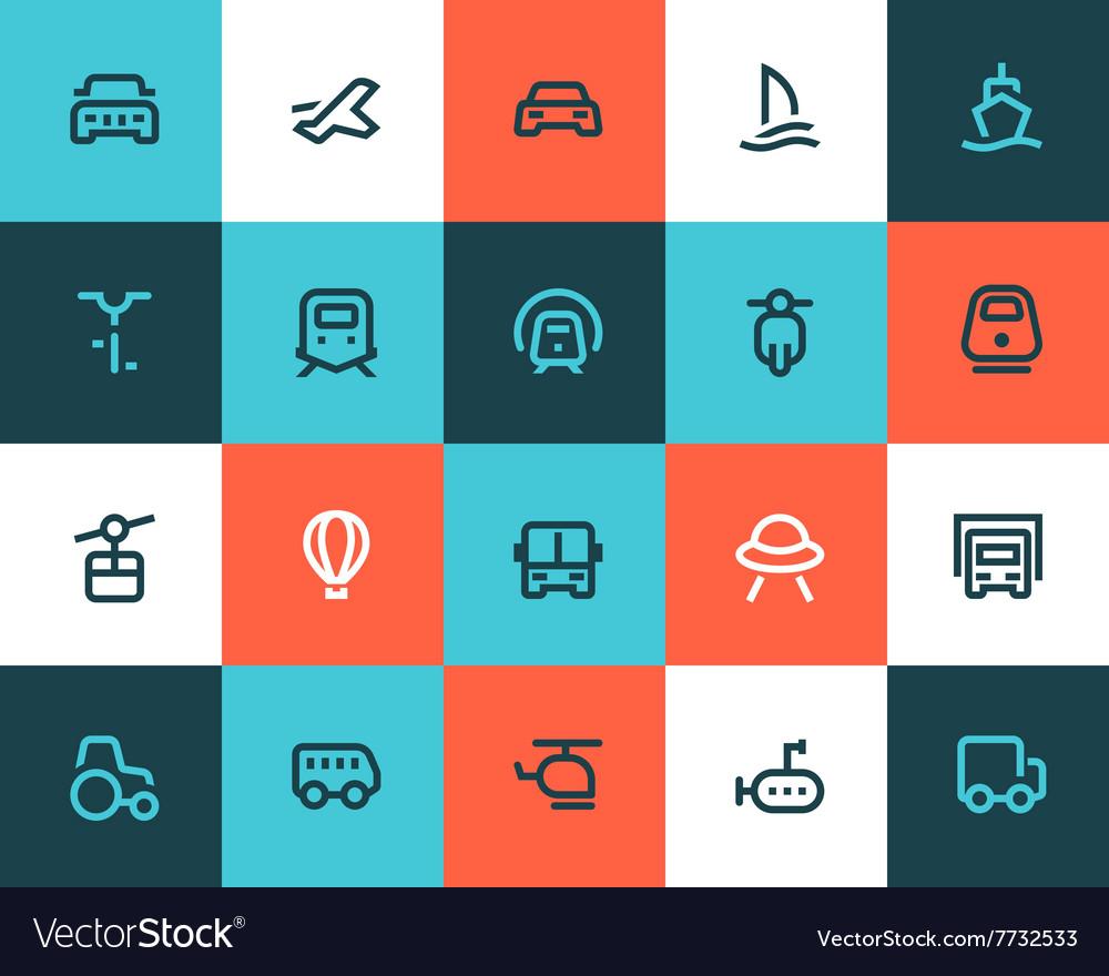 Transportation icons Flat style vector image