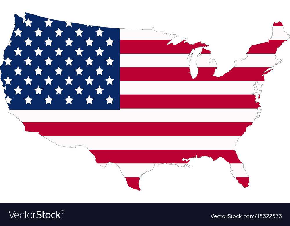 Usa flag map contour flat style Royalty Free Vector Image