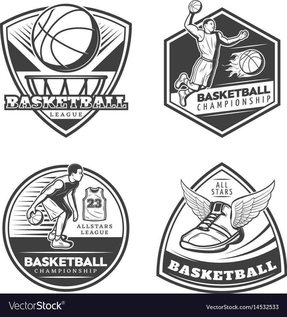 Vintage basketball emblems set vector image