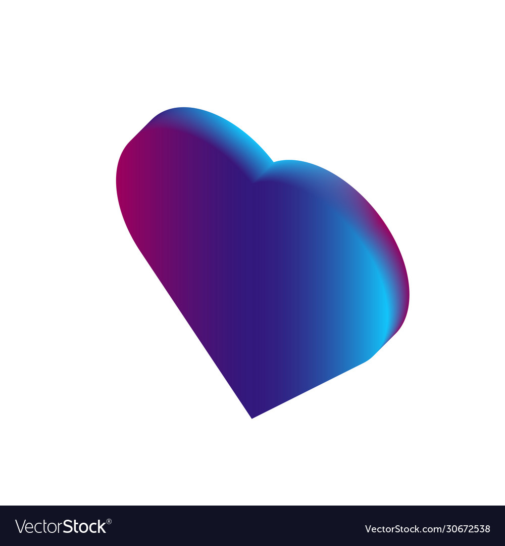 3d isometric love symbol pink and blue gradient