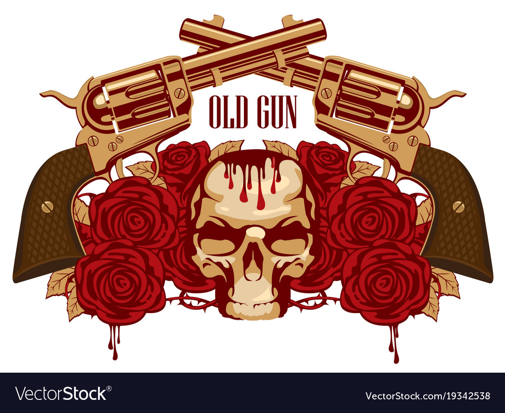 Emblem with human skull red roses and pistols