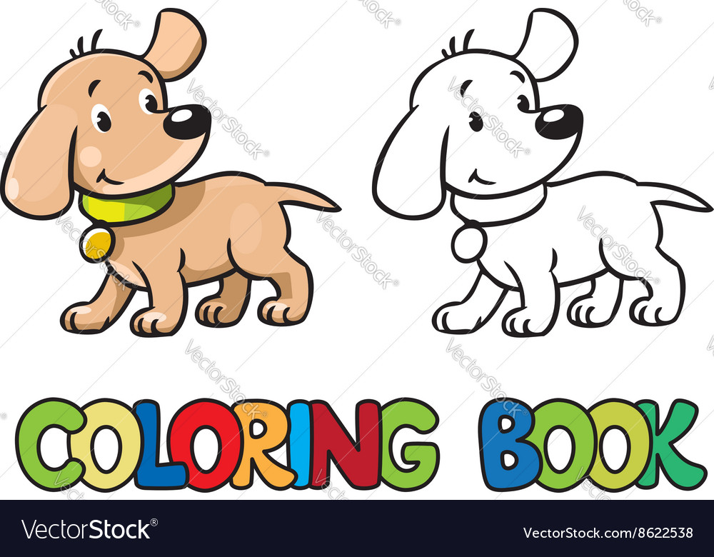 Funny Puppy Coloring Book Royalty Free Vector Image