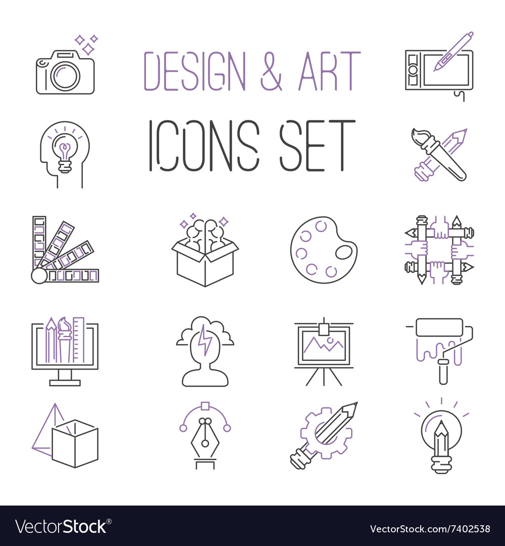 Graphic design sign icons thin outline vector image