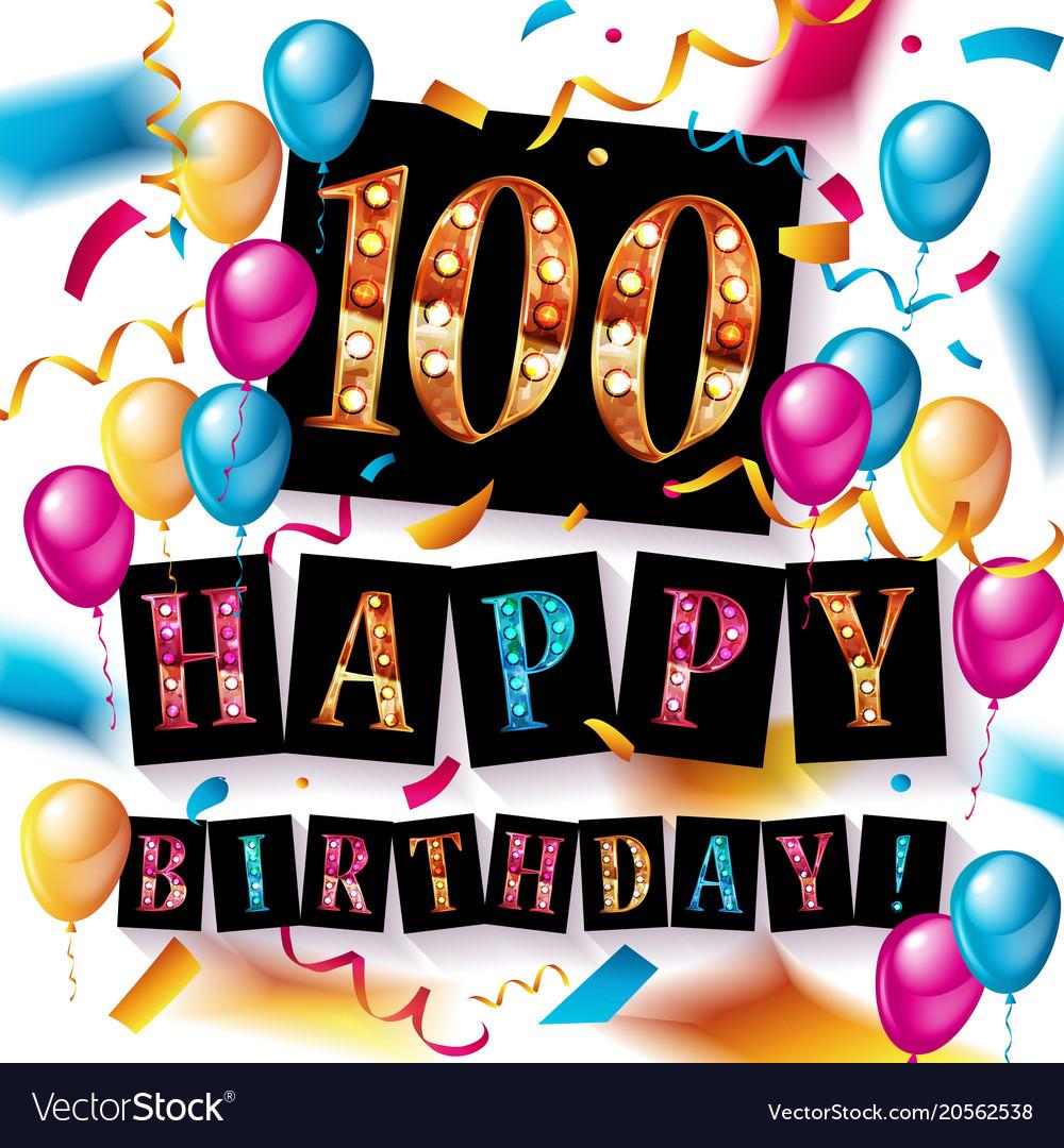 Happy Birthday 100 Years Anniversary Royalty Free Vector