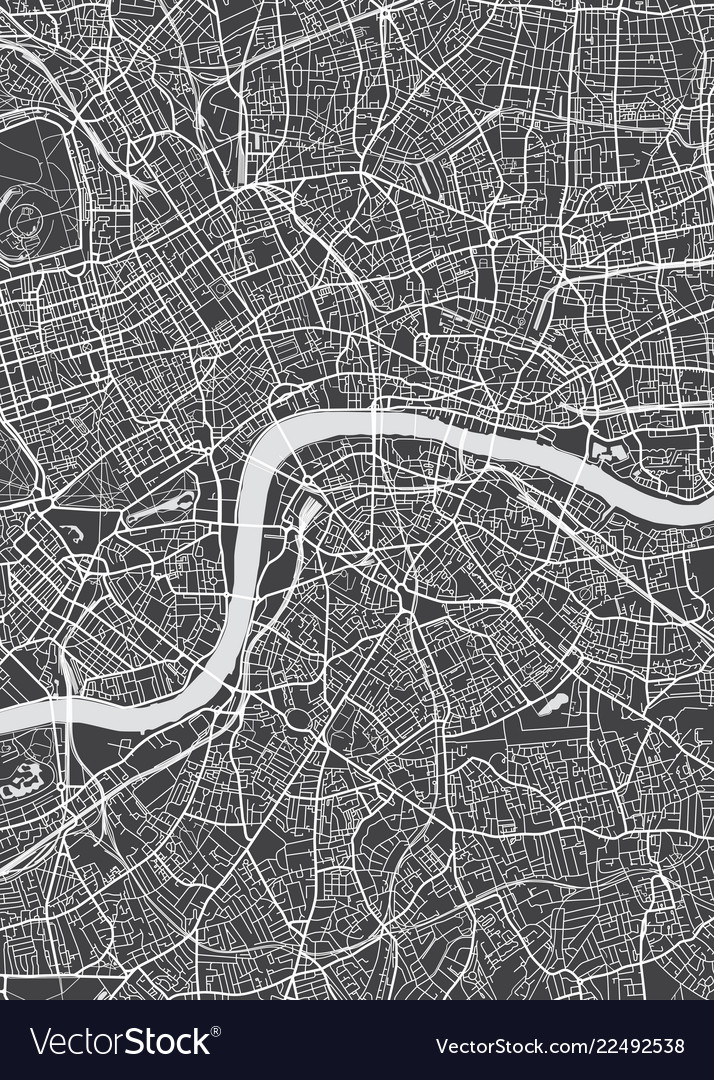 London City Plan Detailed Map Royalty Free Vector Image