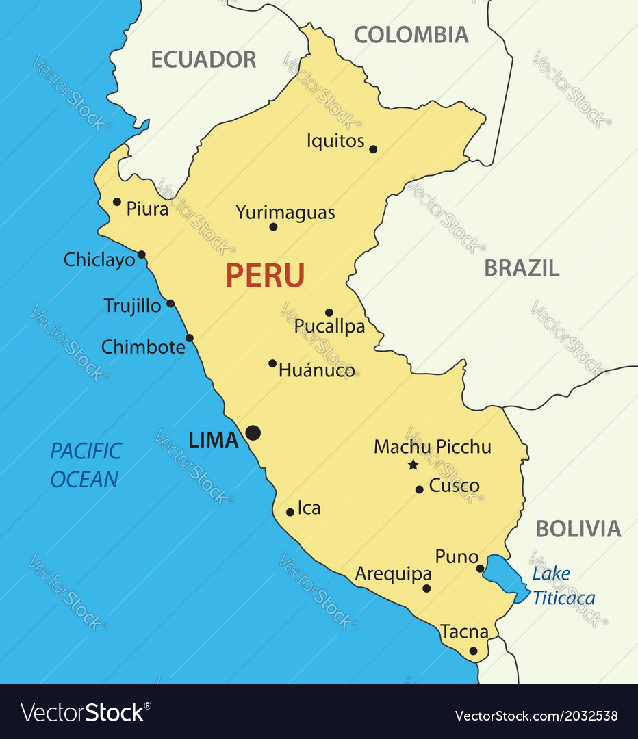 Republic of Peru   map Royalty Free Vector Image