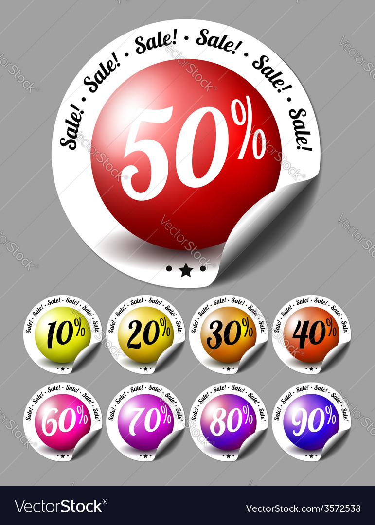Sale stickers with percents