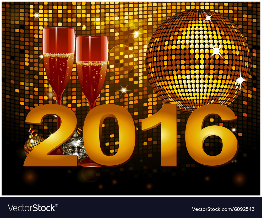 2016 new year background with champagne glass and vector image
