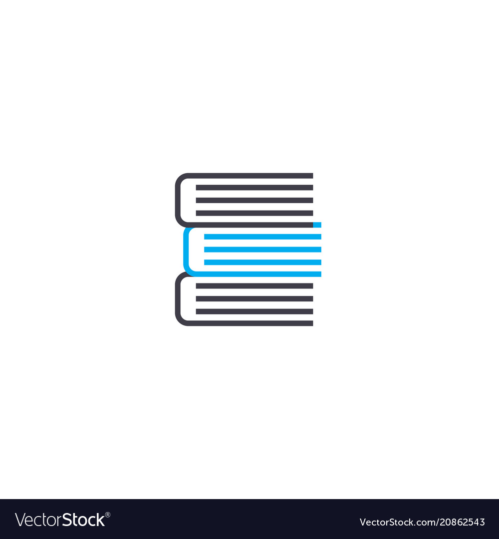 A pile of books thin line stroke icon a vector image