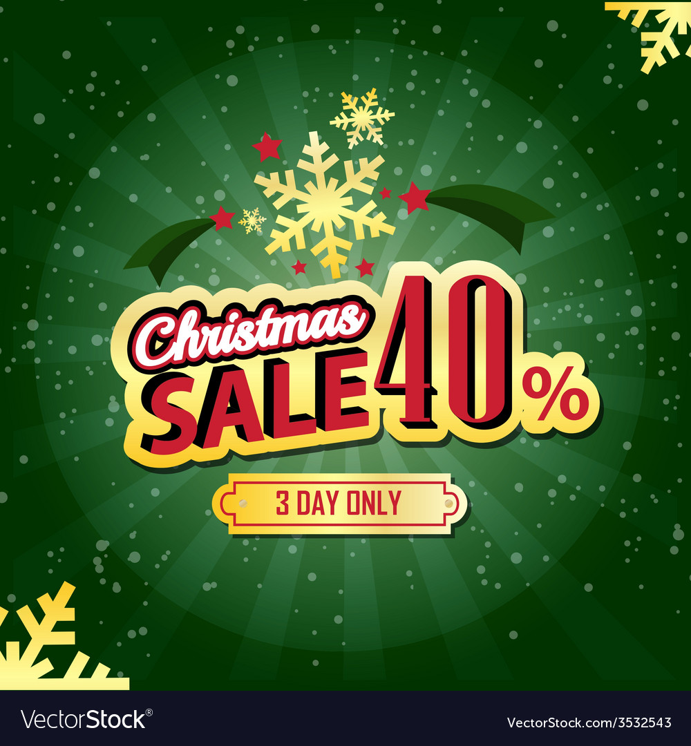 Christmas sale 40 percent typographic background