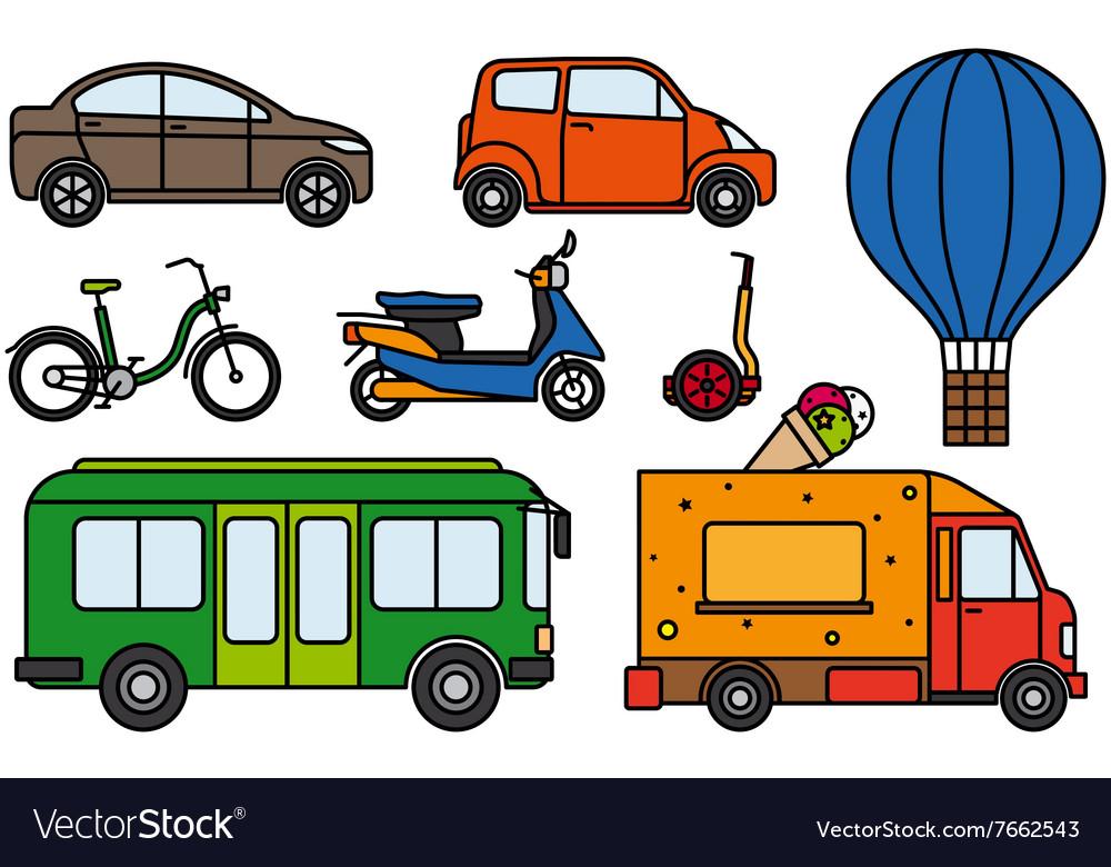 City transport flat linear icons set