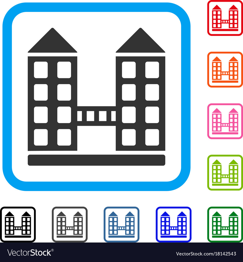 Company building framed icon Royalty Free Vector Image