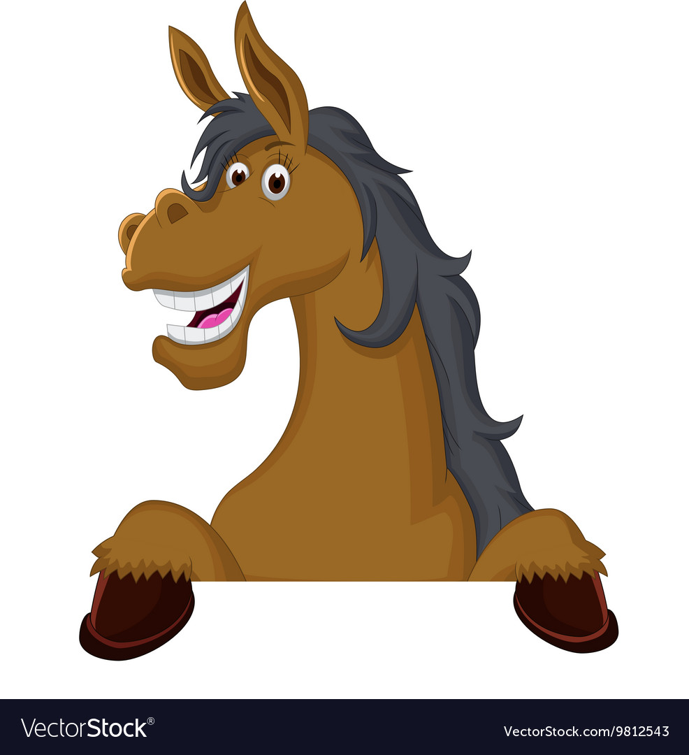 Funny Horse Cartoon With Blank Sign Royalty Free Vector