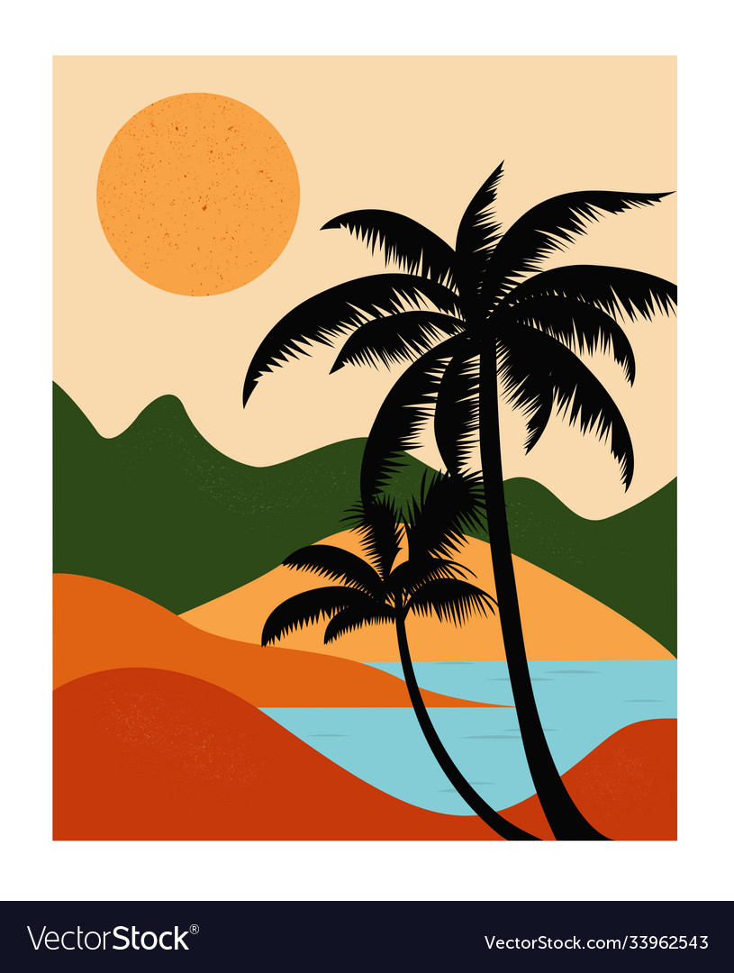 Landscape with mountains sea and palms