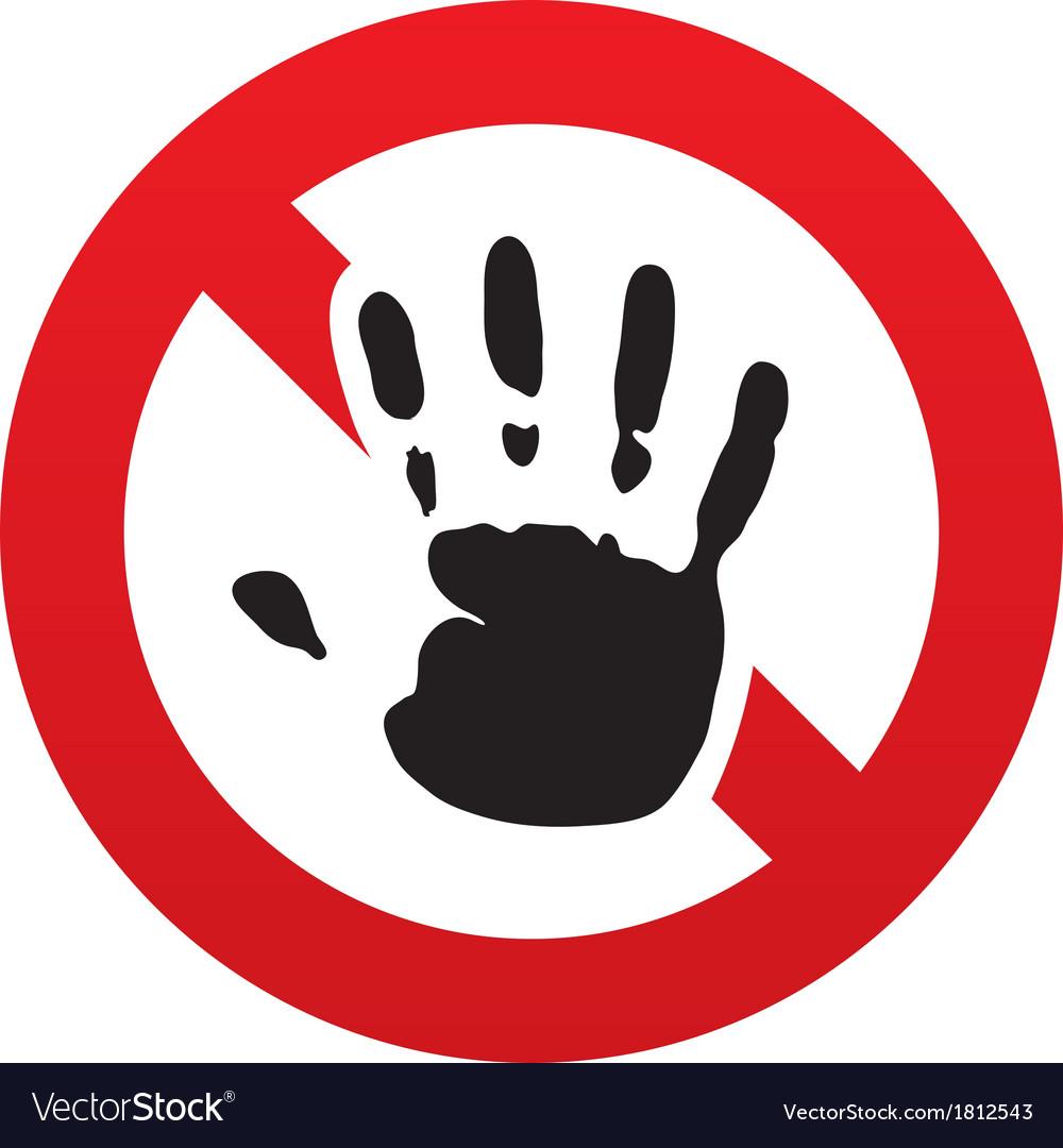 no hand print sign icon stop symbol royalty free vector rh vectorstock com stop sign vector art free stop sign vector art