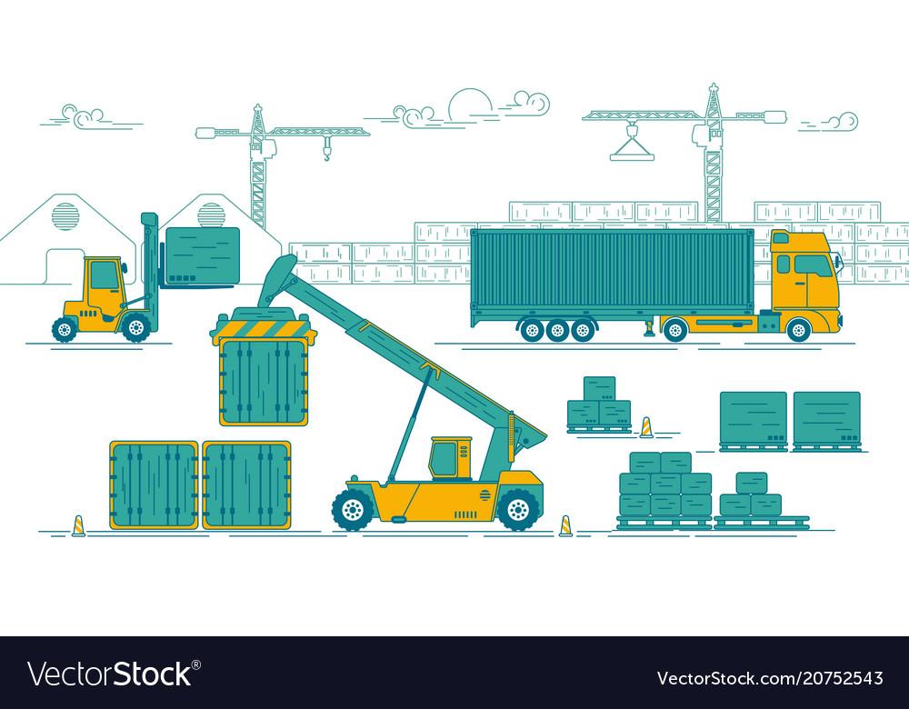 Port activity vector image