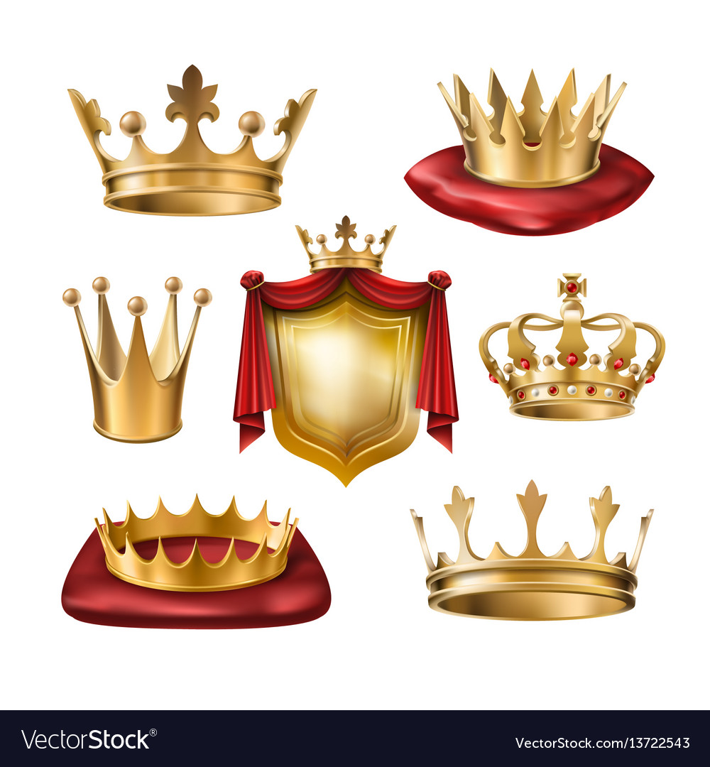 Set of icons of royal golden crowns of