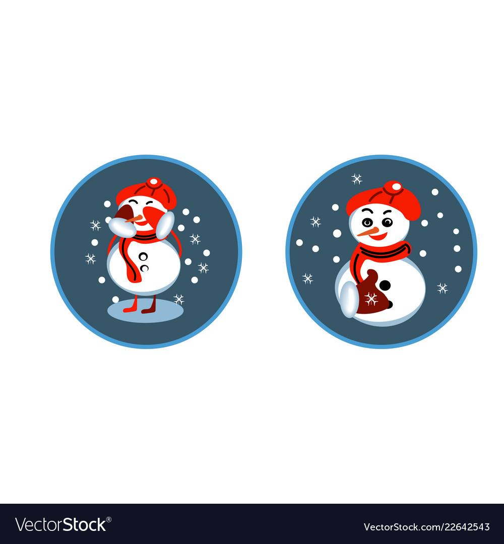 Set of winter holidays snowman cheerful snowmen