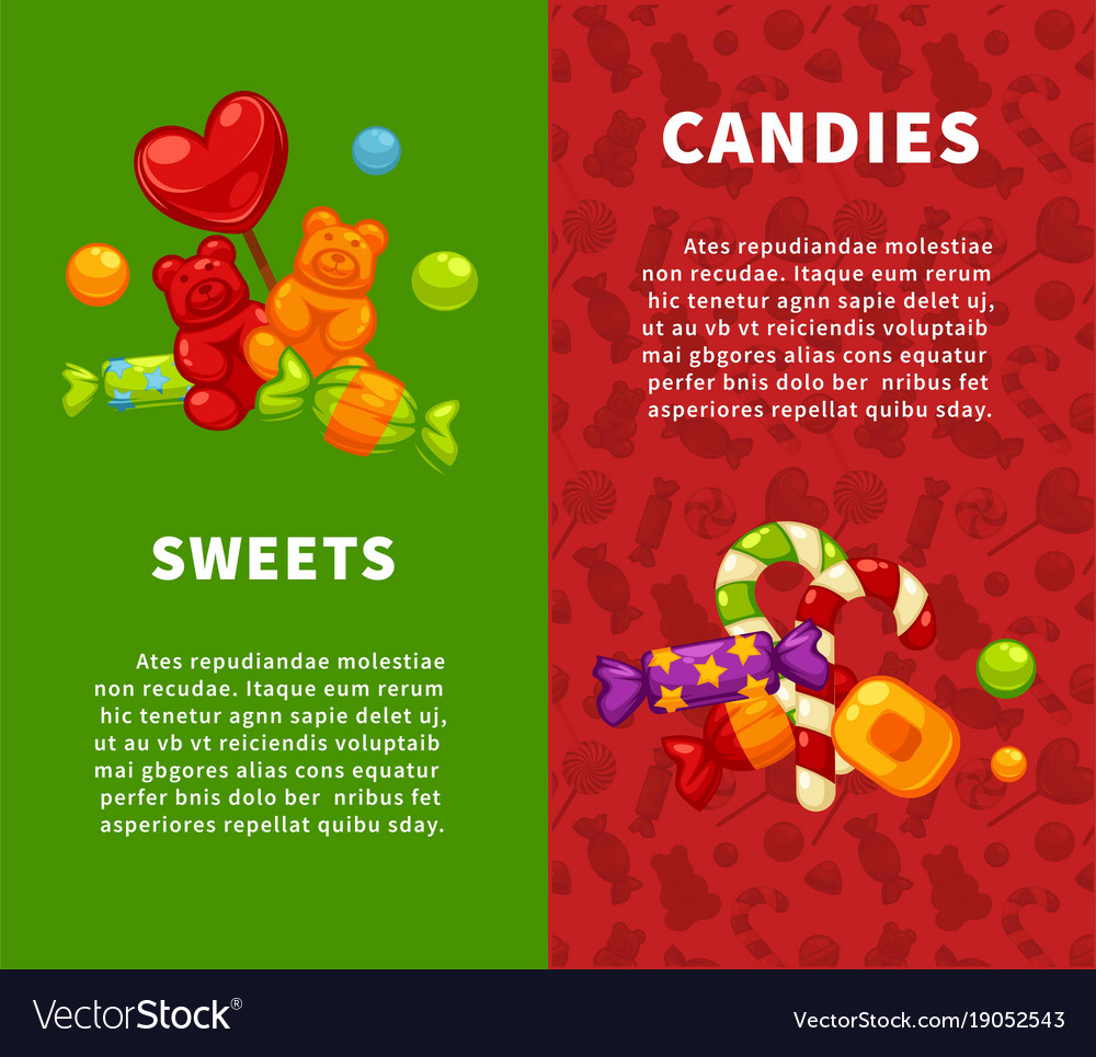 Sweets and candies vertical posters