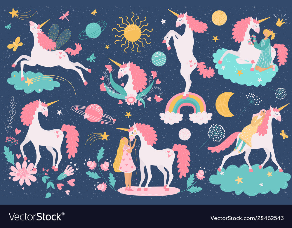 Unicorn cartoon cute horse character with