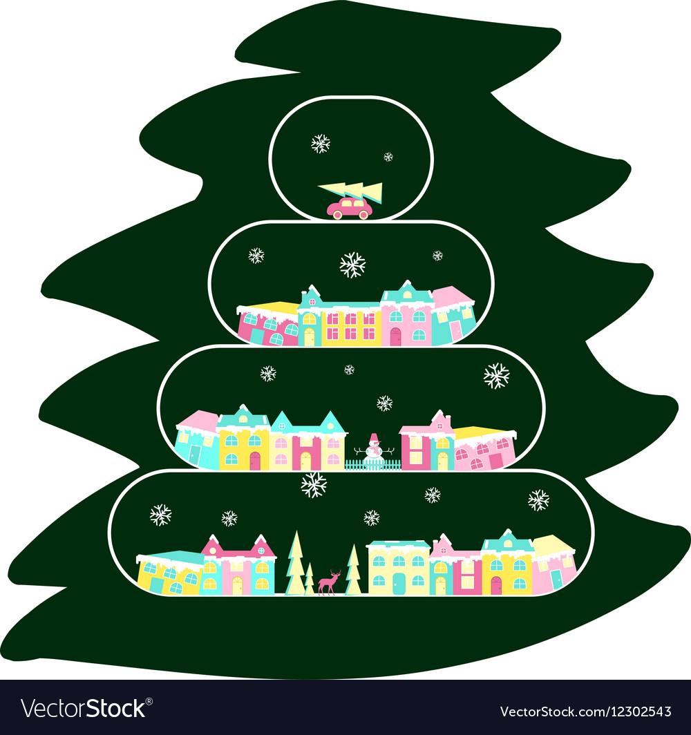 Winter village on christmas tree