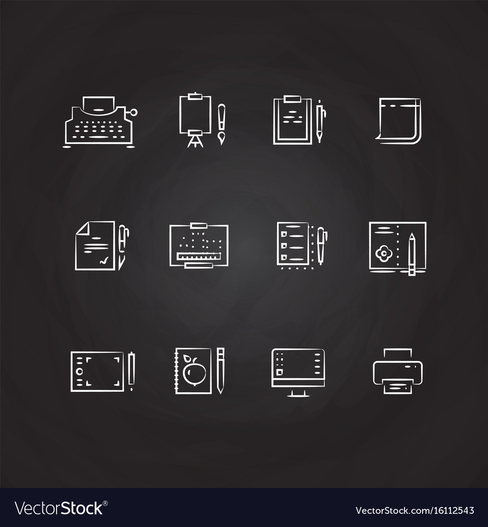 Writing tools line icons on chalkboard design