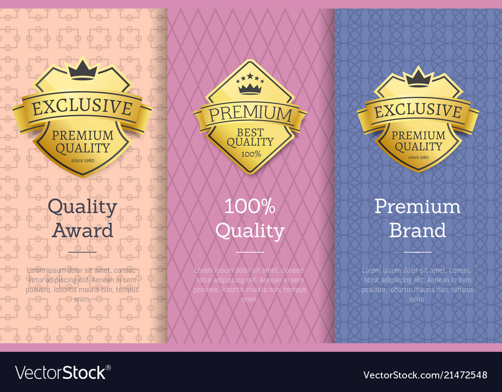 100 quality award premium brand gold labels set