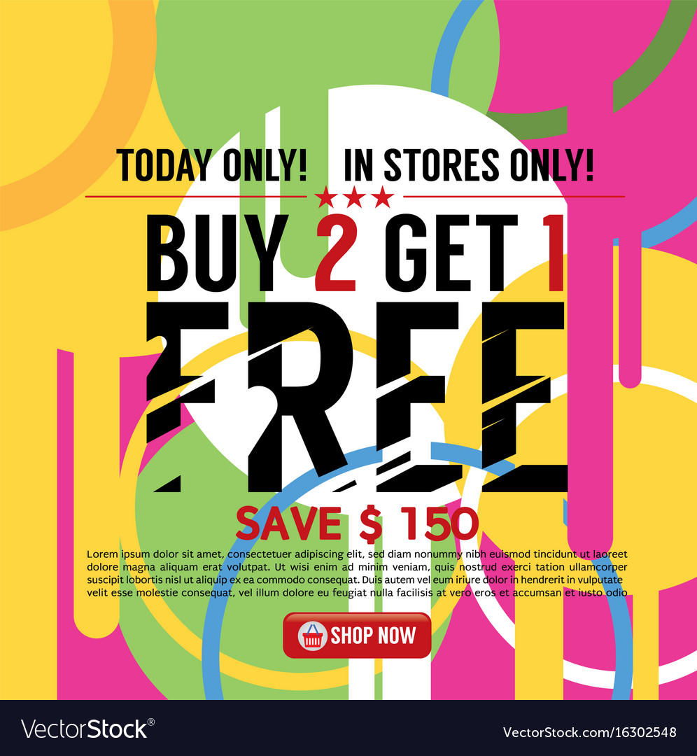 buy 2 get 1 free banner royalty free vector image