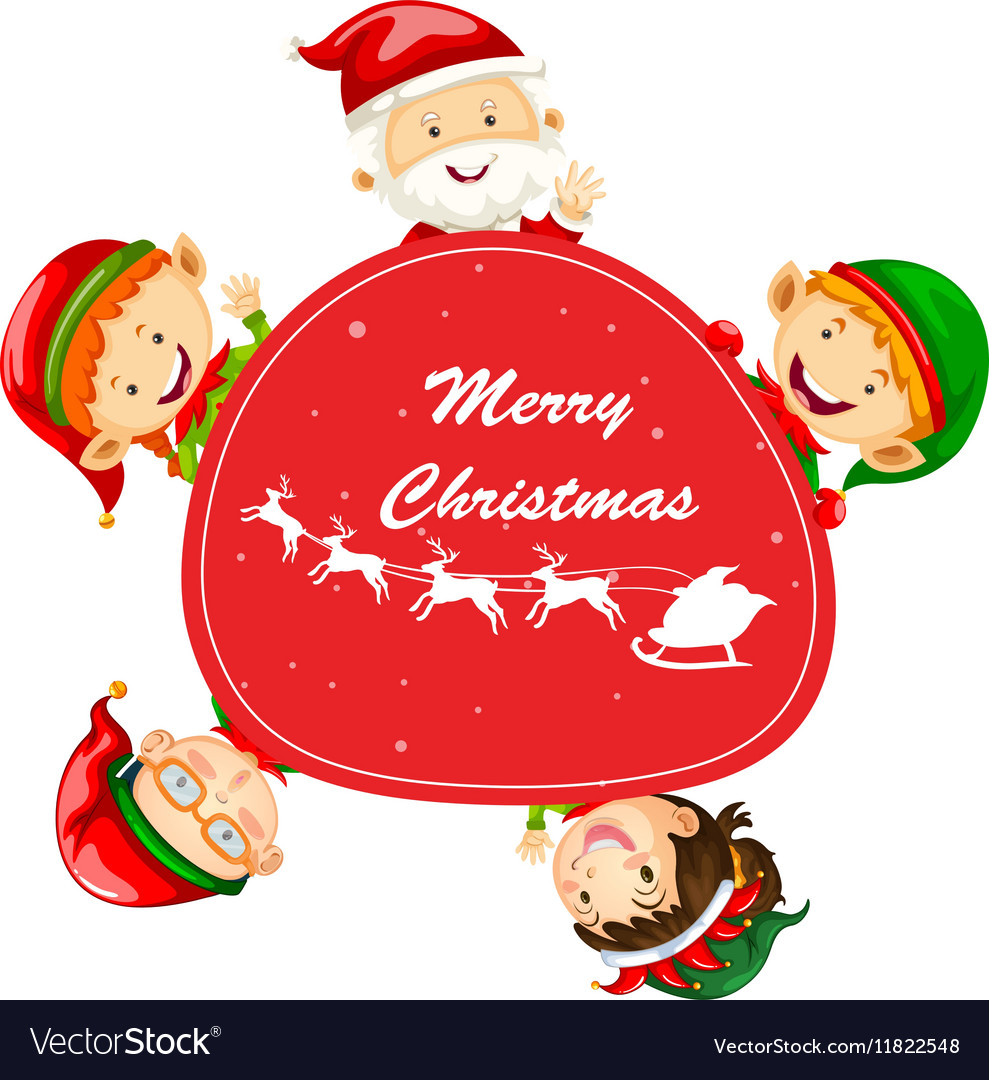 Christmas Card Template With Santa And Elves Vector Image