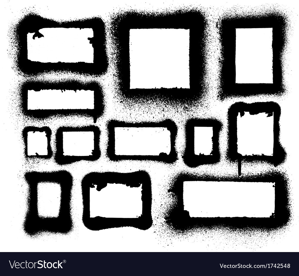 Detailed aerosol spray paint frames and borders vector image on VectorStock