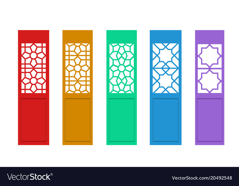 Isolated chinese door with indian pattern vector image