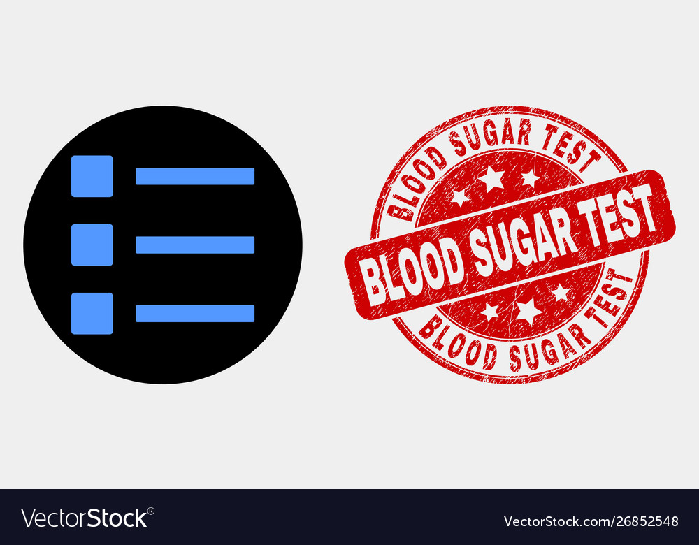 List items icon and grunge blood sugar test