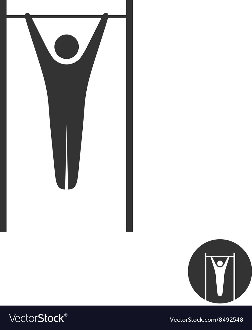 Pull up man silhouette black icon Horizontal vector image