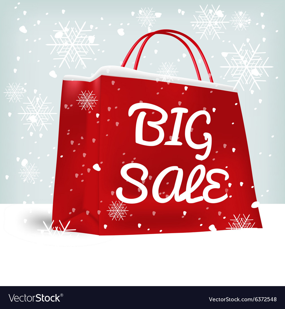 ab3ef67d44 Red big sale shopping bag Royalty Free Vector Image