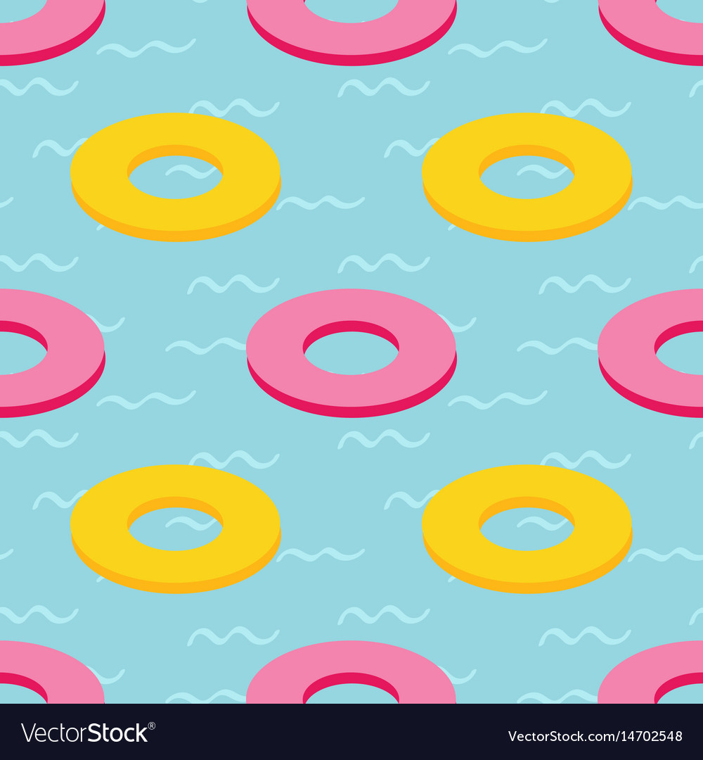 Rubber swim rings in swimming pool water pattern