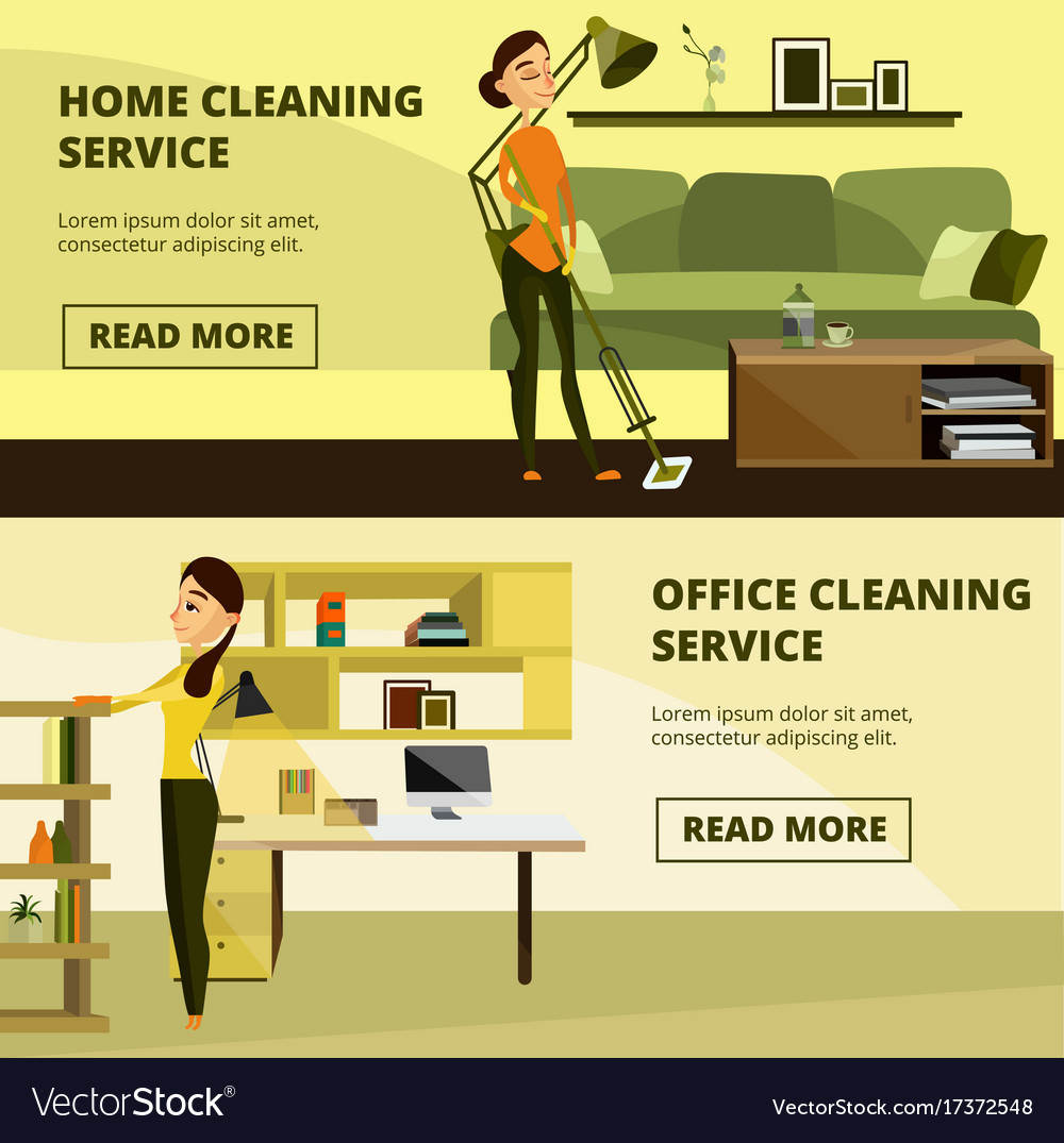 Set Of Home And Office Cleaning Service Vector Image