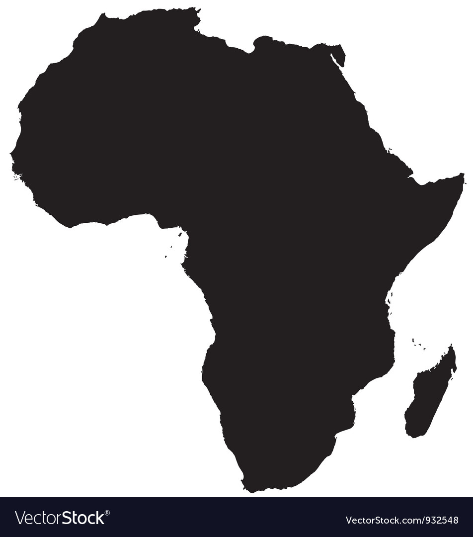 Africa Map Silhouette Silhouette map africa Royalty Free Vector Image