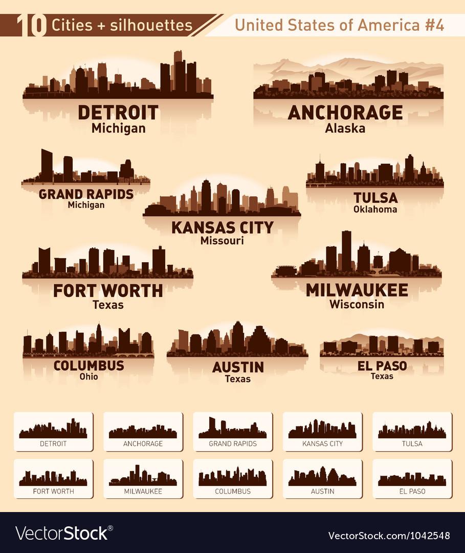 Skyline city set 10 cities of USA 4 vector image