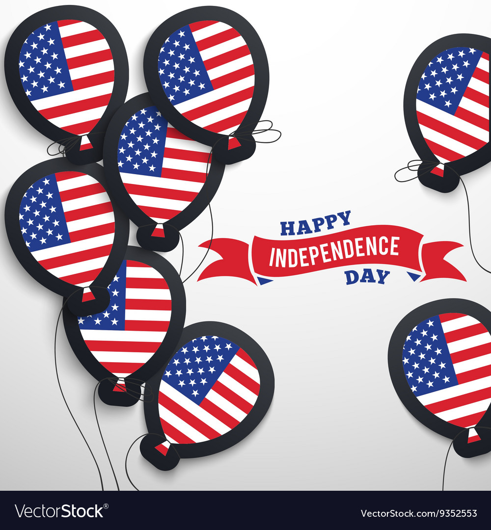 American patriotic flag balloons cut out from