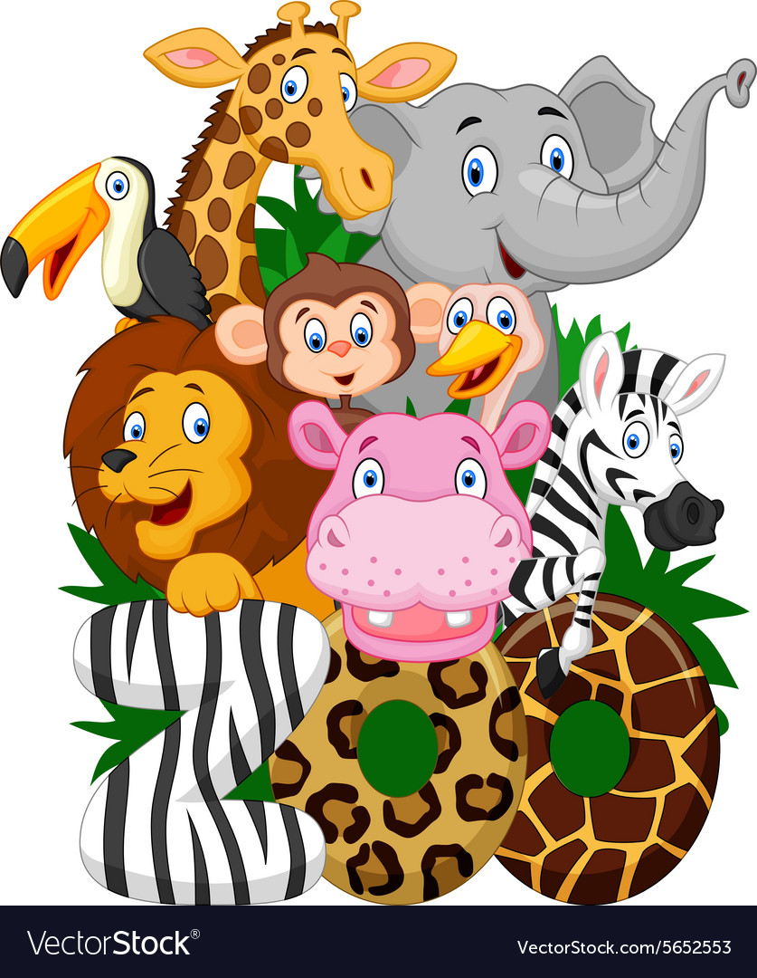 cartoon collection animal of zoo royalty free vector image safari animals clip art safari animal clip art border