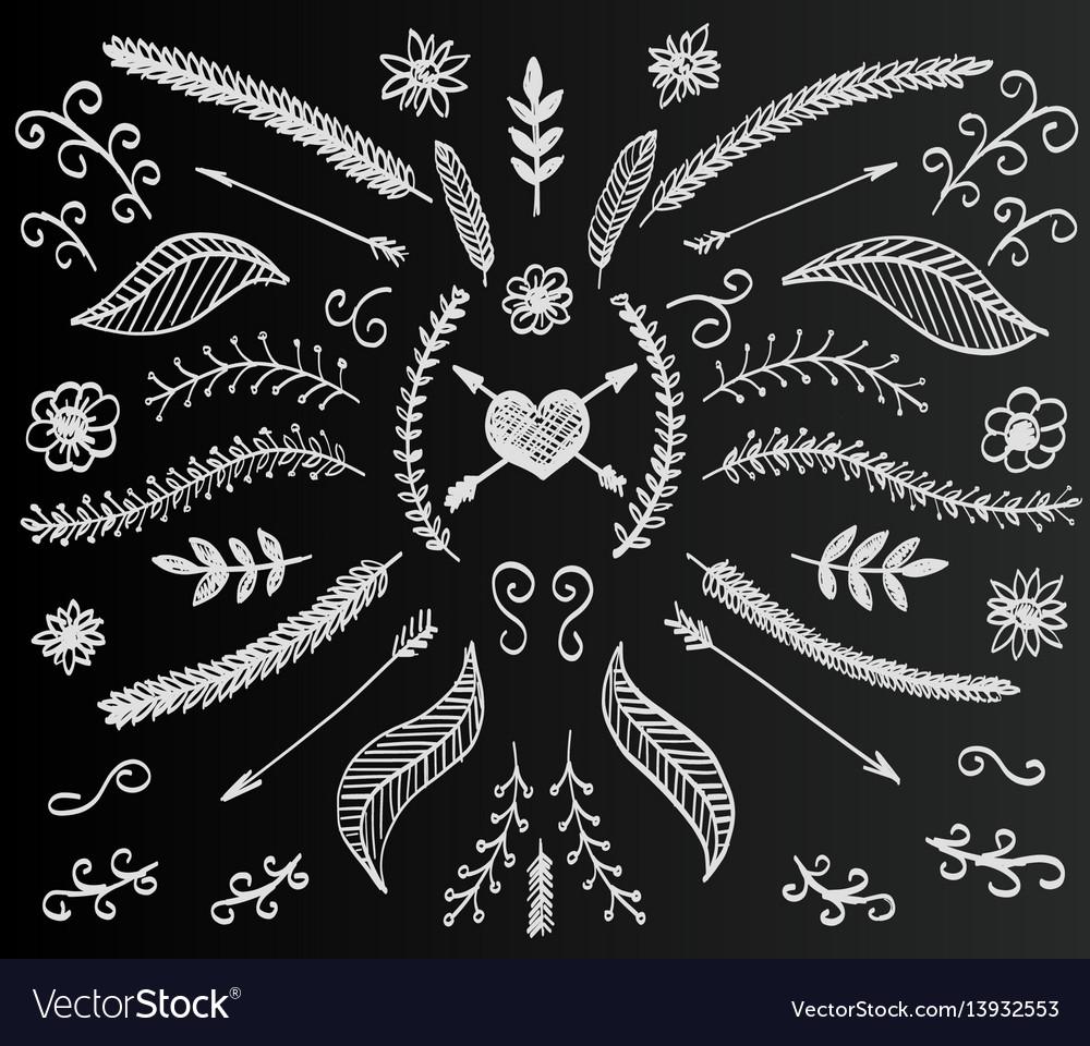 Chalkboard flower set hand drawn vintage floral