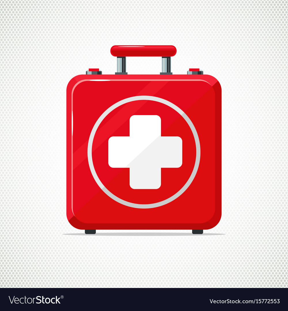 First aid kit isolated on white red box with