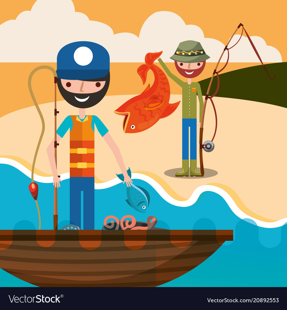 Fishing people cartoon