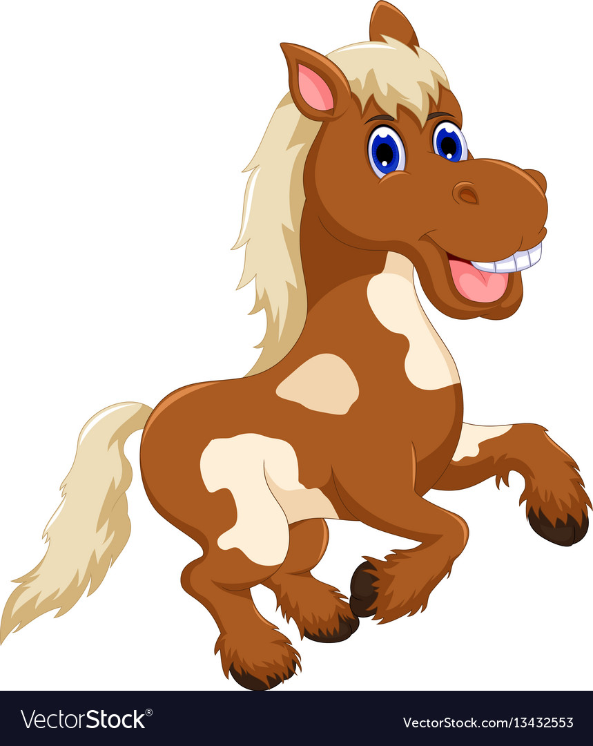 Funny Horse Cartoon Jumping Royalty Free Vector Image